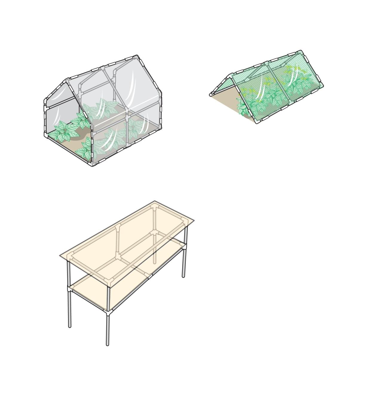 Illustrated examples of a greenhouse, row cover and table made with PVC connectors