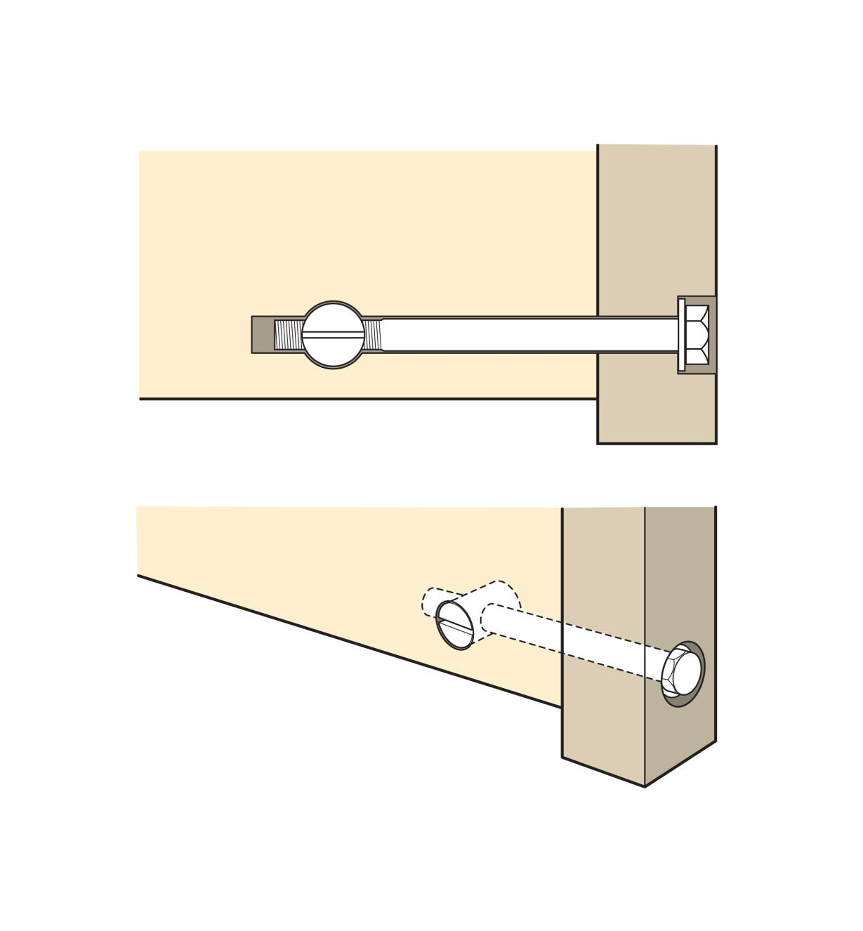 Cutaway illustration of fastener in use