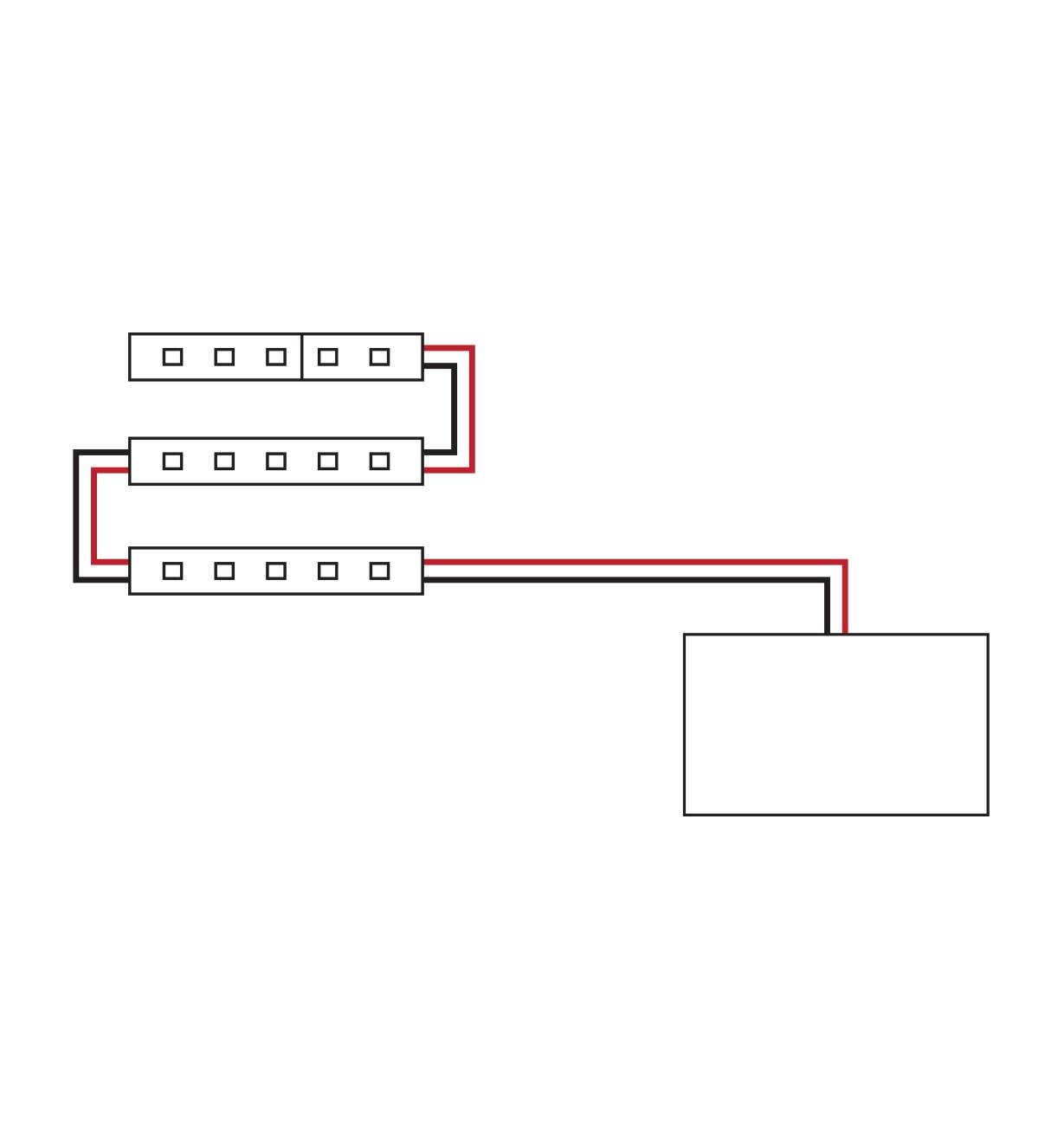 Diagram showing tape lights attached to power supply in a straight run configuration
