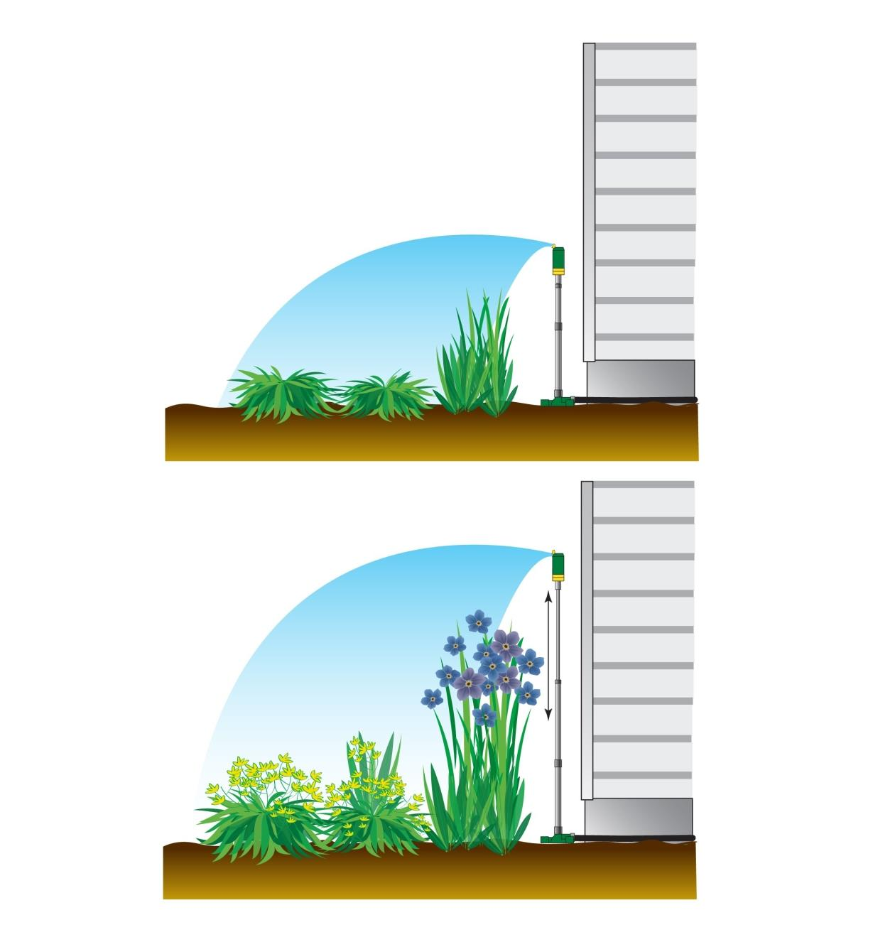 Diagram shows Telescoping Sprinkler Tower at a lower height as well as raised when plants are taller
