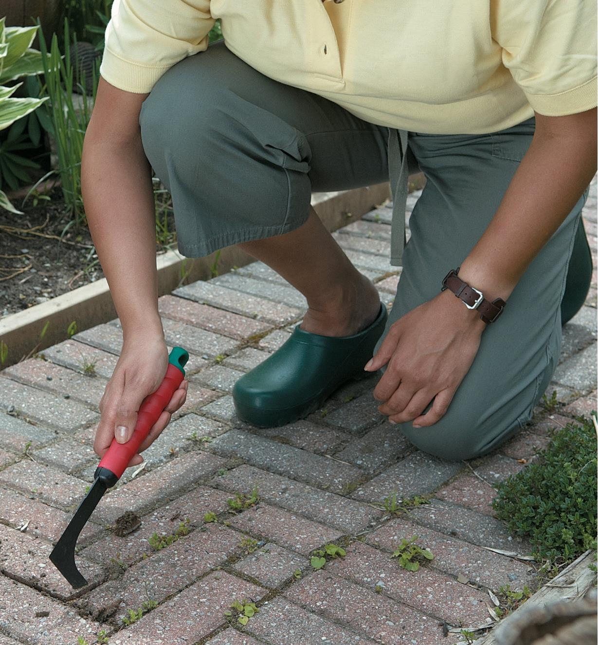 Weeding between patio stones with the Crack Weeder
