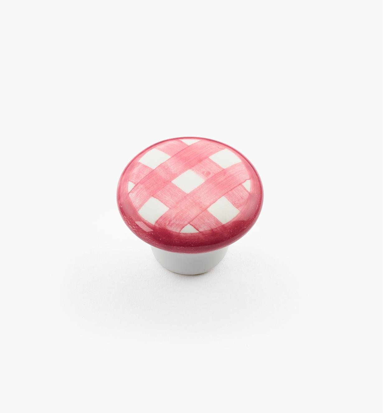 "00W5225 - 1"" x 3/4"" Red Checkered Knob"