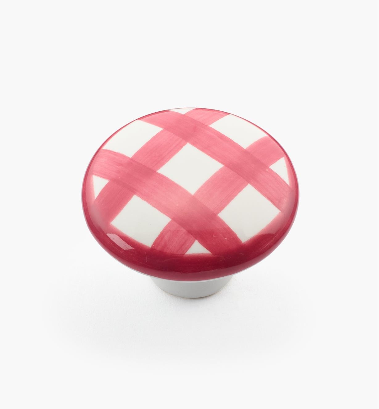 "00W5227 - 1 1/2"" x 1 1/16"" Red Checkered Knob"