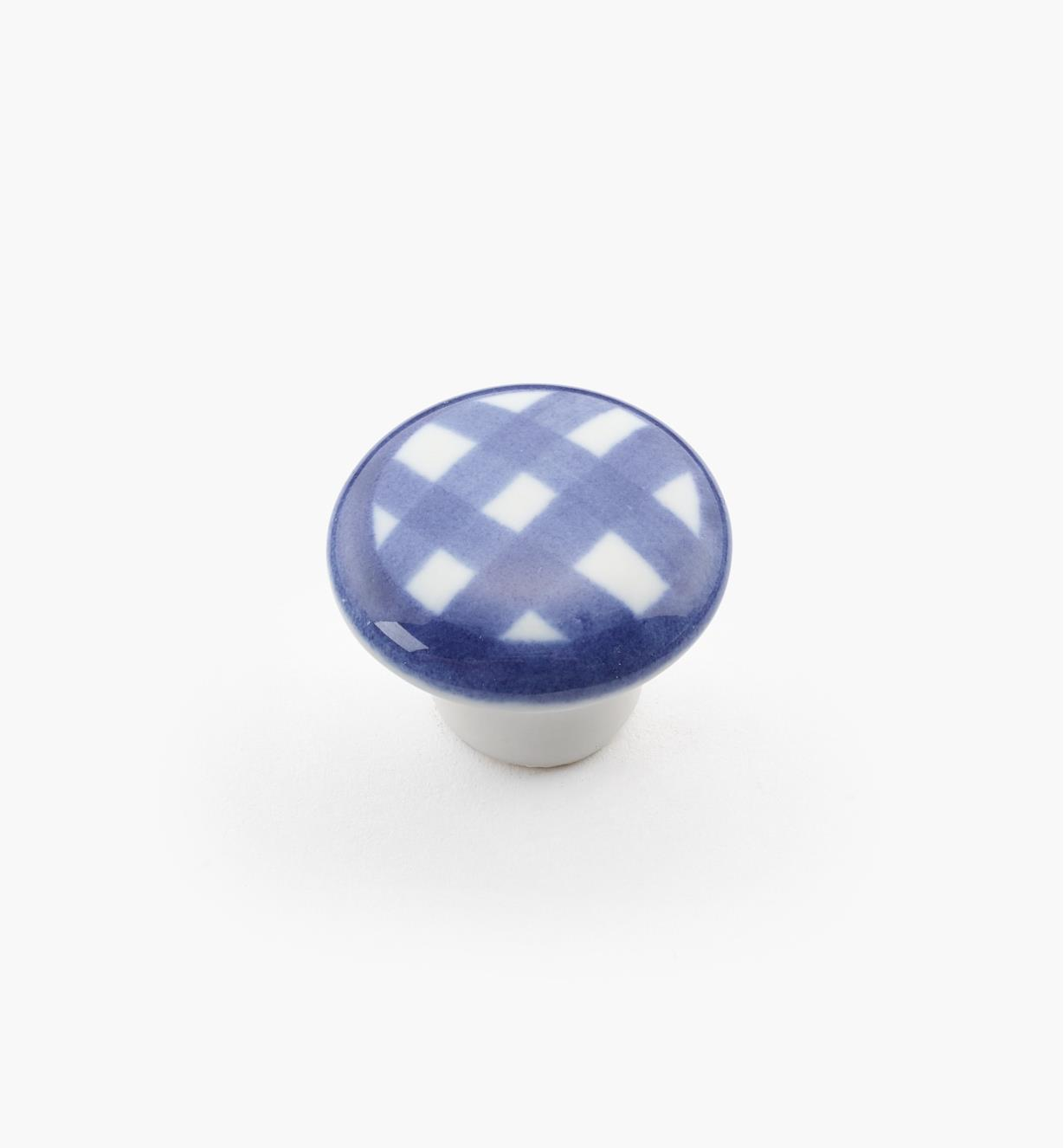 "00W5235 - 1"" x 3/4"" Blue Checkered Knob"
