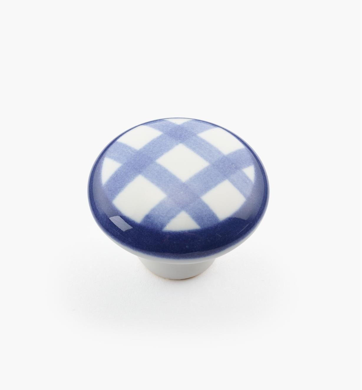 "00W5236 - 1 1/4"" x 7/8"" Blue Checkered Knob"