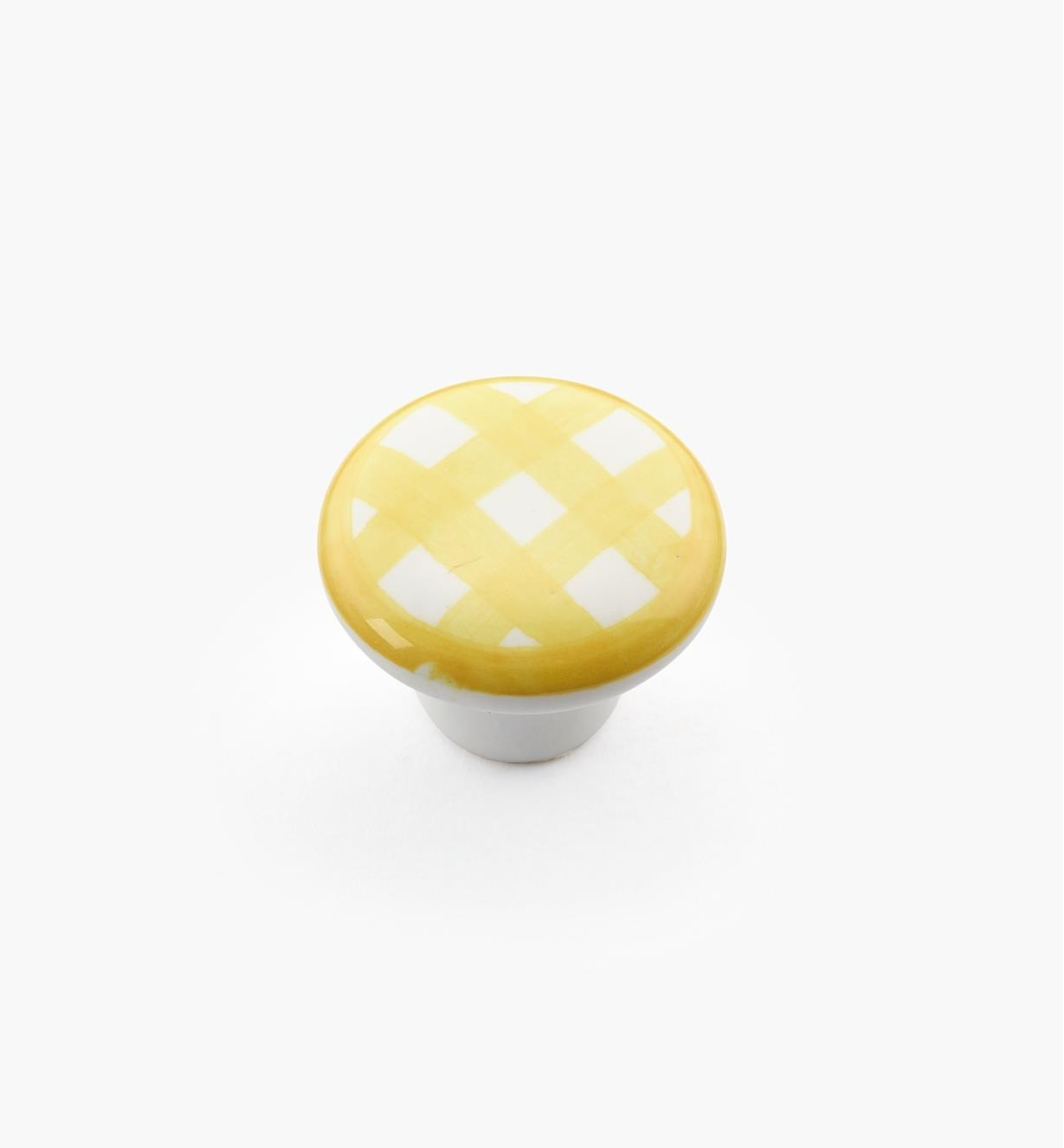 "00W5245 - 1"" x 3/4"" Yellow Checkered Knob"