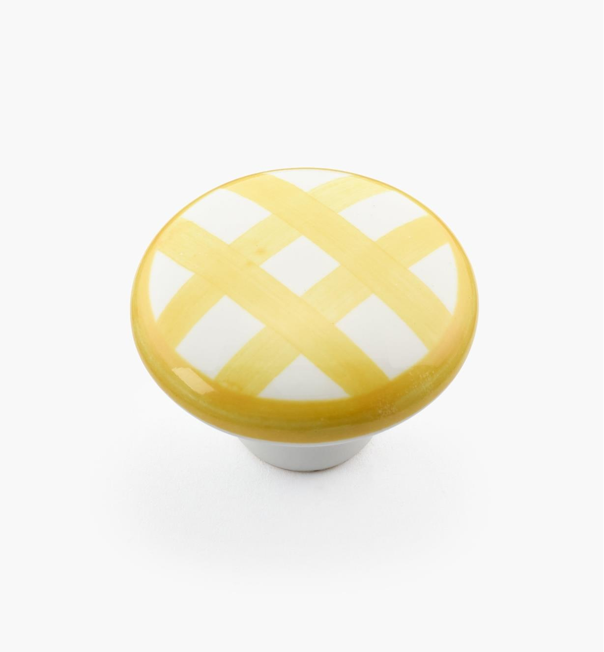"00W5247 - 1 1/2"" x 1 1/16"" Yellow Checkered Knob"