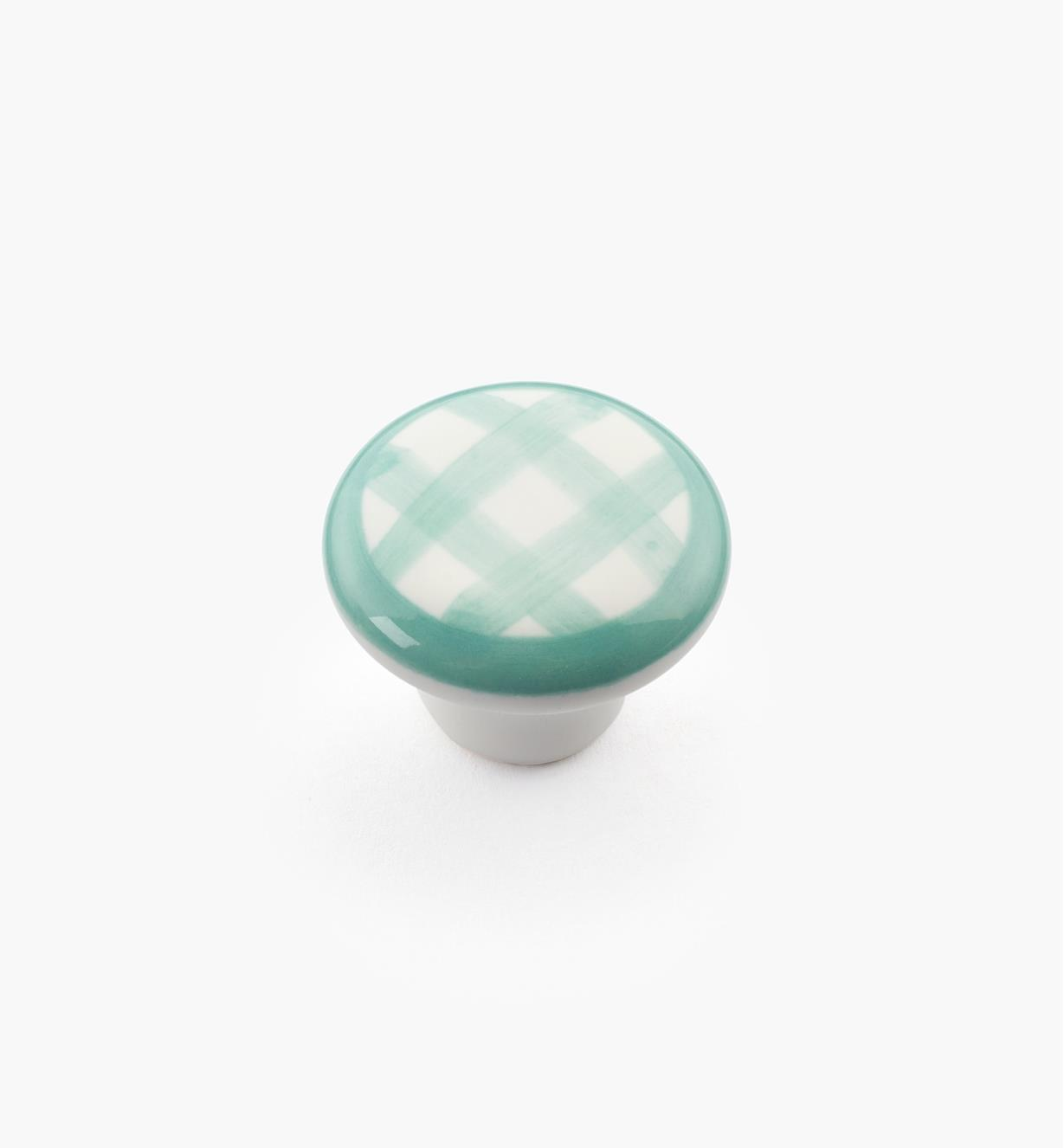 "00W5255 - 1"" x 3/4"" Green Checkered Knob"
