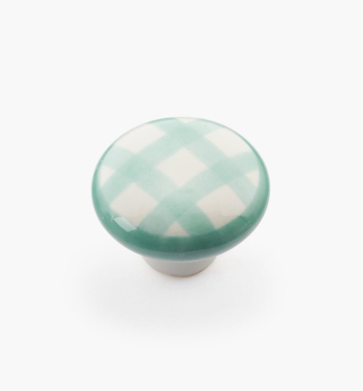 "00W5256 - 1 1/4"" x 7/8"" Green Checkered Knob"