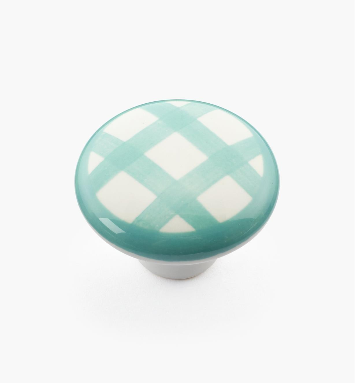 "00W5257 - 1 1/2"" x 1 1/16"" Green Checkered Knob"
