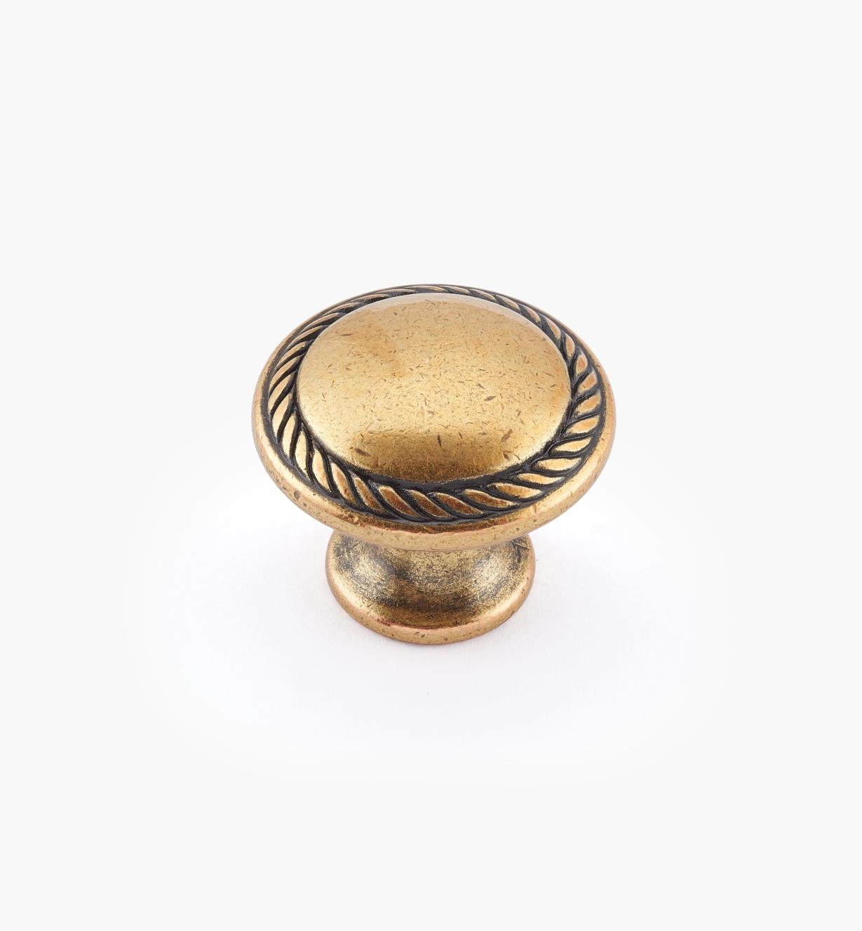 01A2252 - Small Burnished Bronze Roped Cast Knob