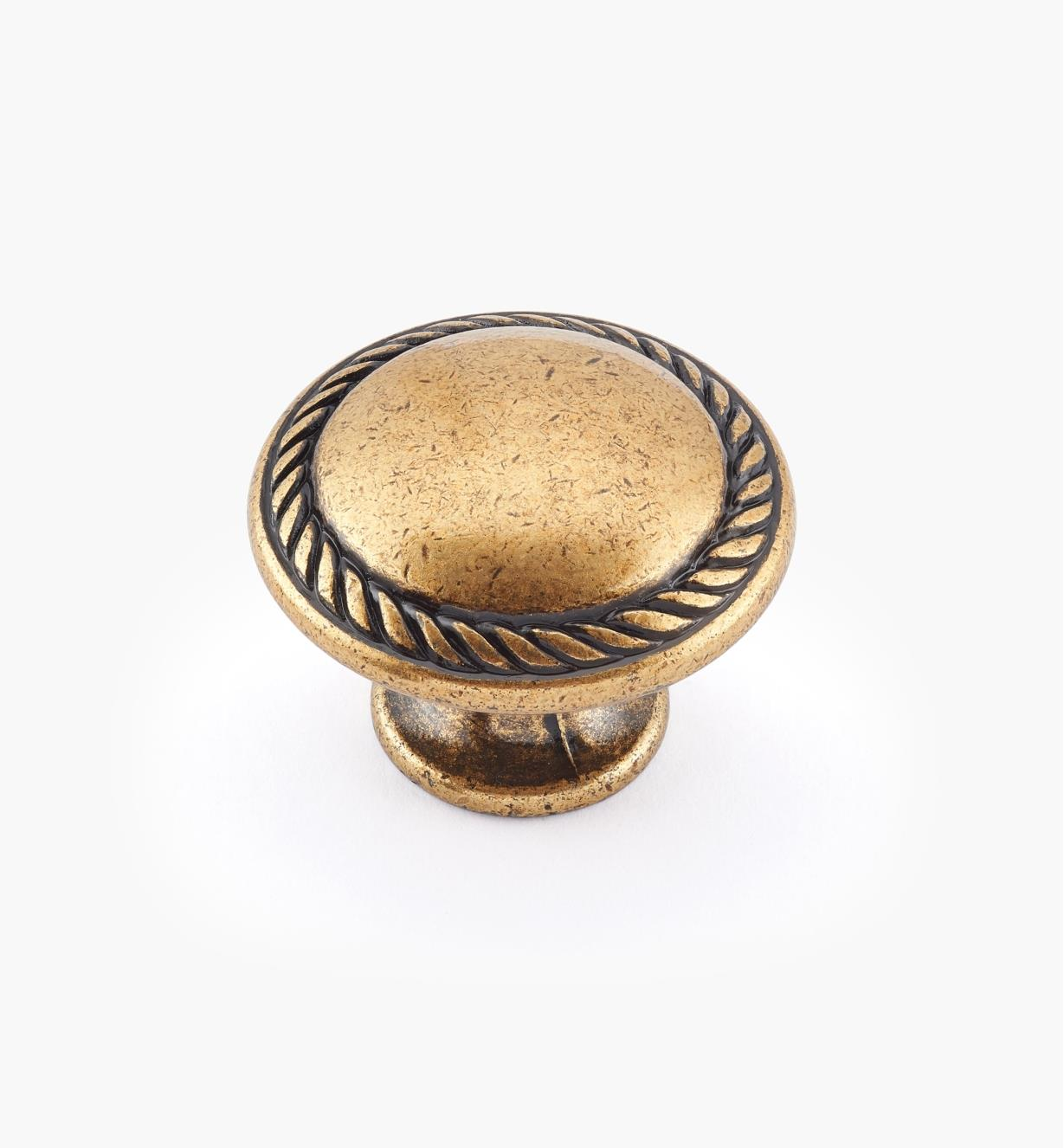 01A2253 - Large Burnished Bronze Roped Cast Knob