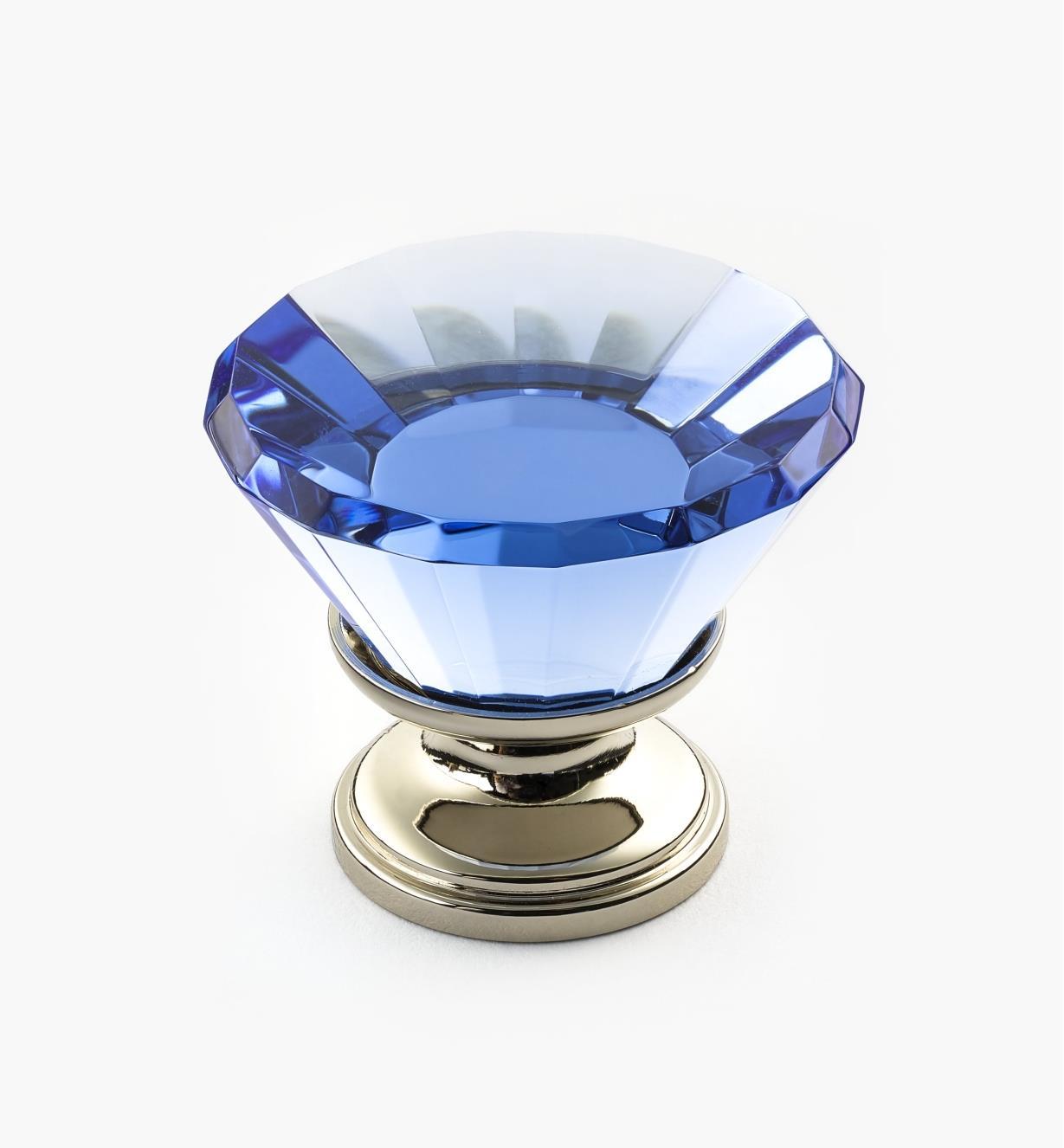 01A3611 - Bouton en cristal bleu, 30mm