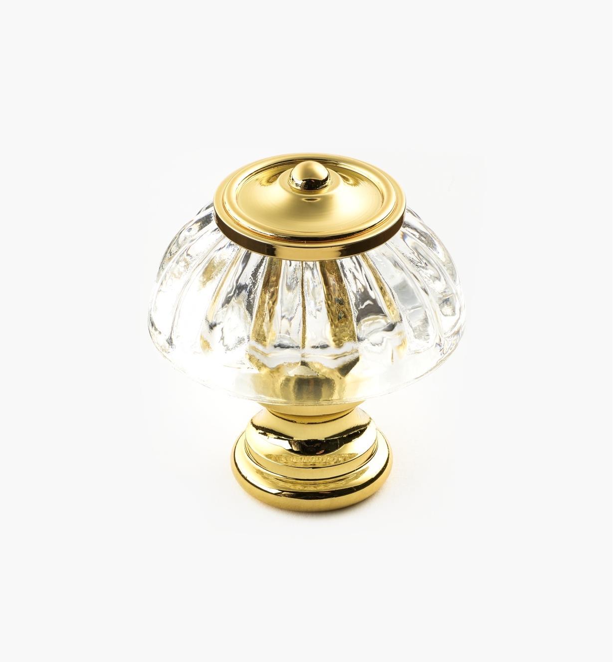 01W2620 - Glass Knob, Pol. Brass