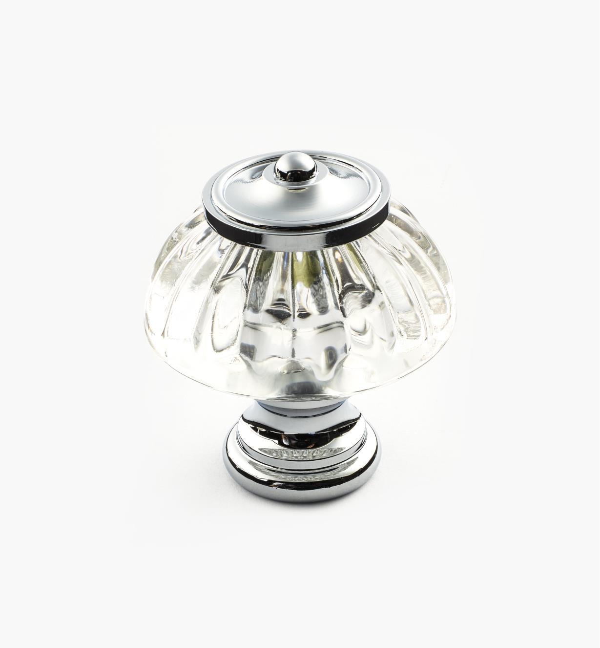 01W2621 - Bouton en verre cannelé à base en laiton chromé, 11/4pox17/16po