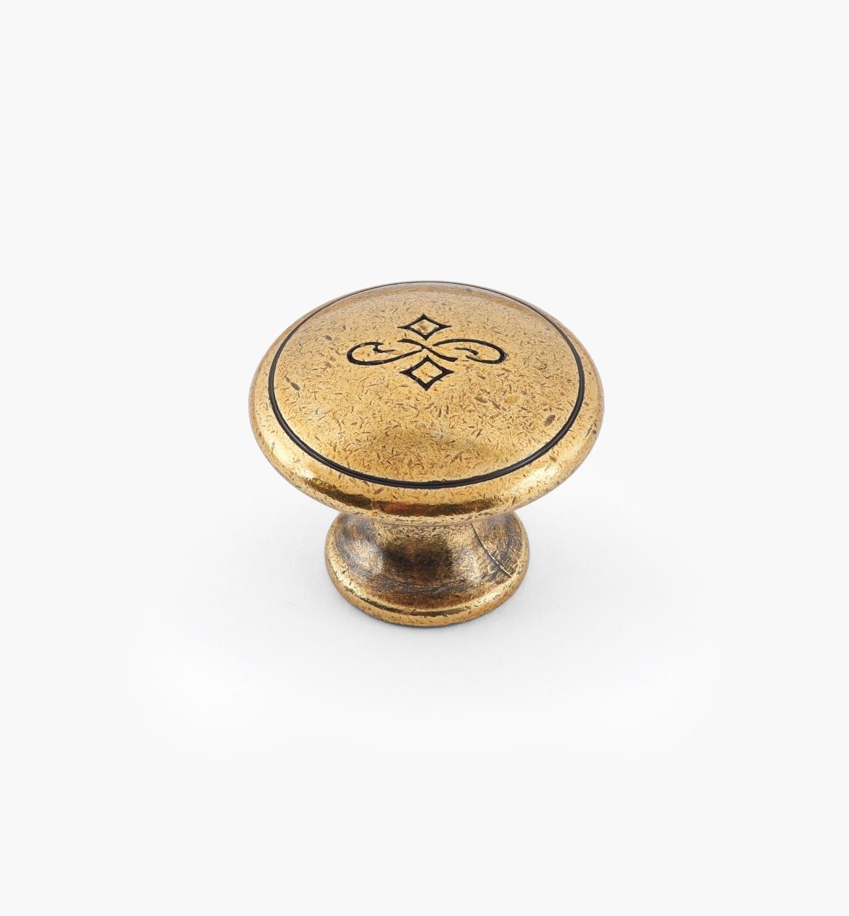 01X4112 - Bouton gravé de 25 mm x 20 mm, fini bronze bruni