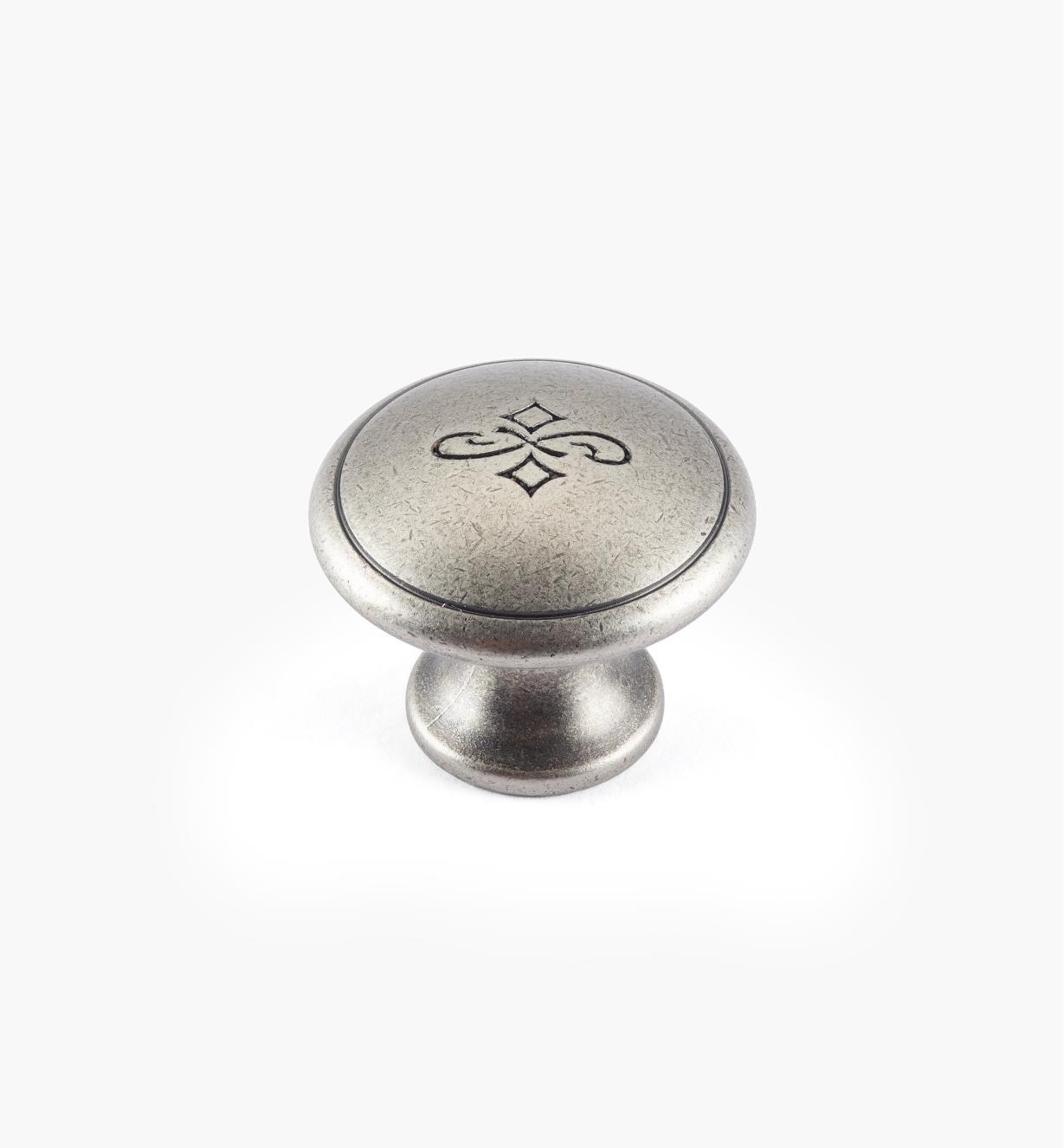 01X4114 - Bouton gravé de 25 mm x 20 mm, fini étain
