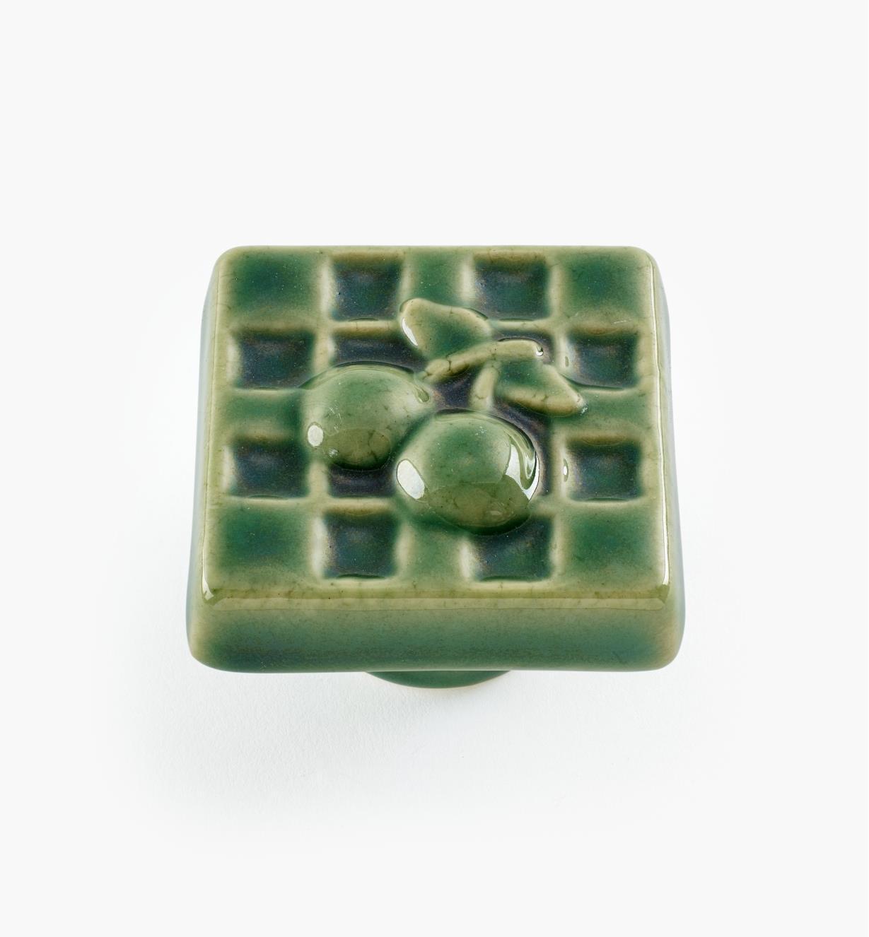 02W1611 - Bouton carré en céramique, vert, 1 9/16 po x 1 po