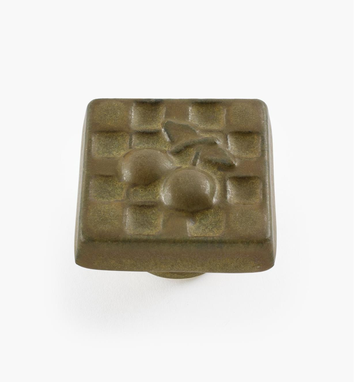 02W1612 - Bouton carré en céramique, brun foncé, 1 9/16 po x 1 po