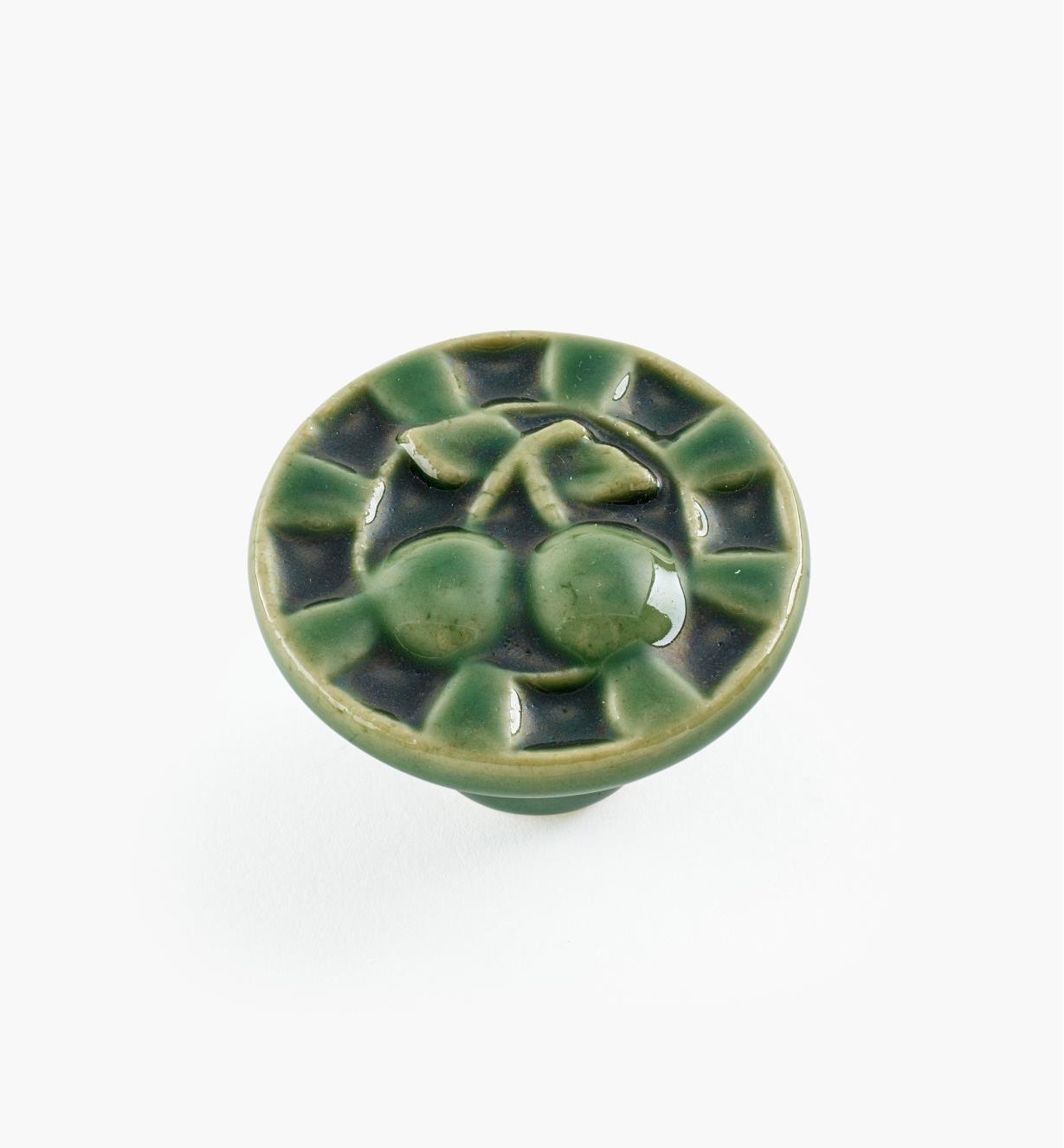 02W1631 - Bouton rond en céramique, vert, 1 1/2 po x 1 po
