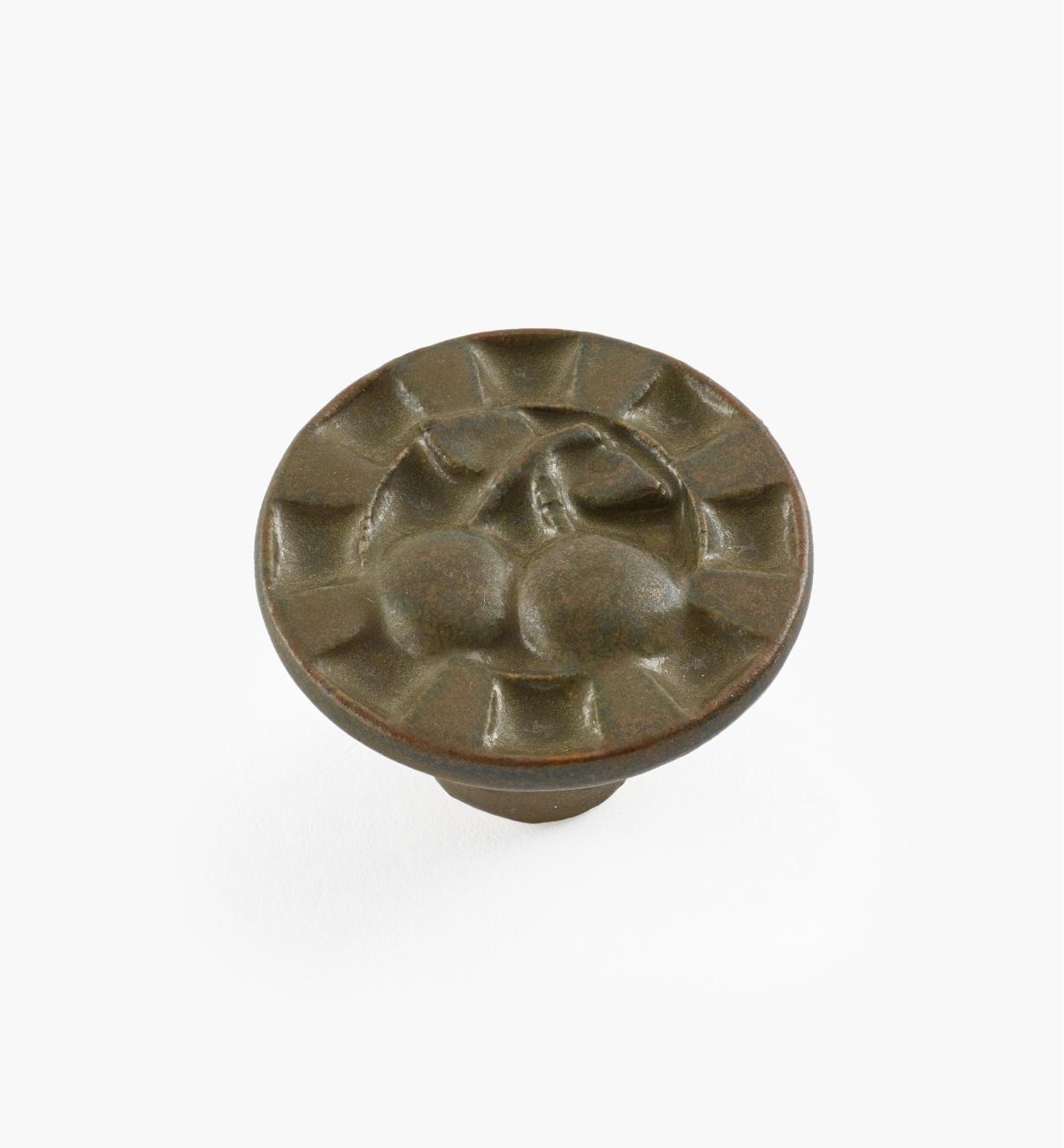 02W1632 - Bouton rond en céramique, brun foncé, 1 1/2 po x 1 po