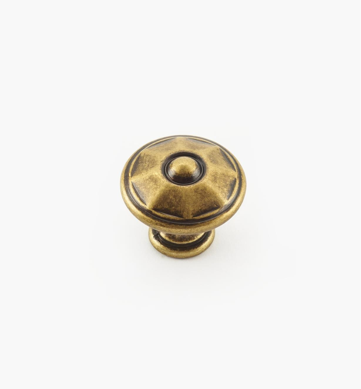 01A2240 - Faceted Brass Knob, 25mm × 22mm