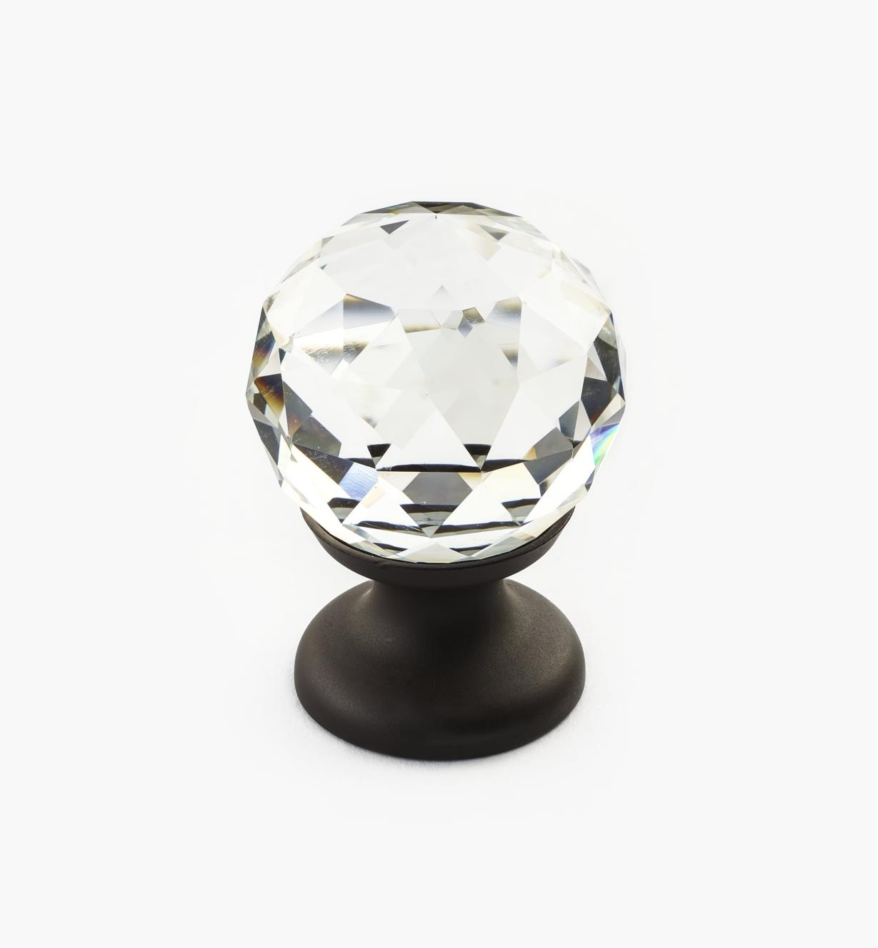 01A3450 - Small Faceted Glass Knob, ORB