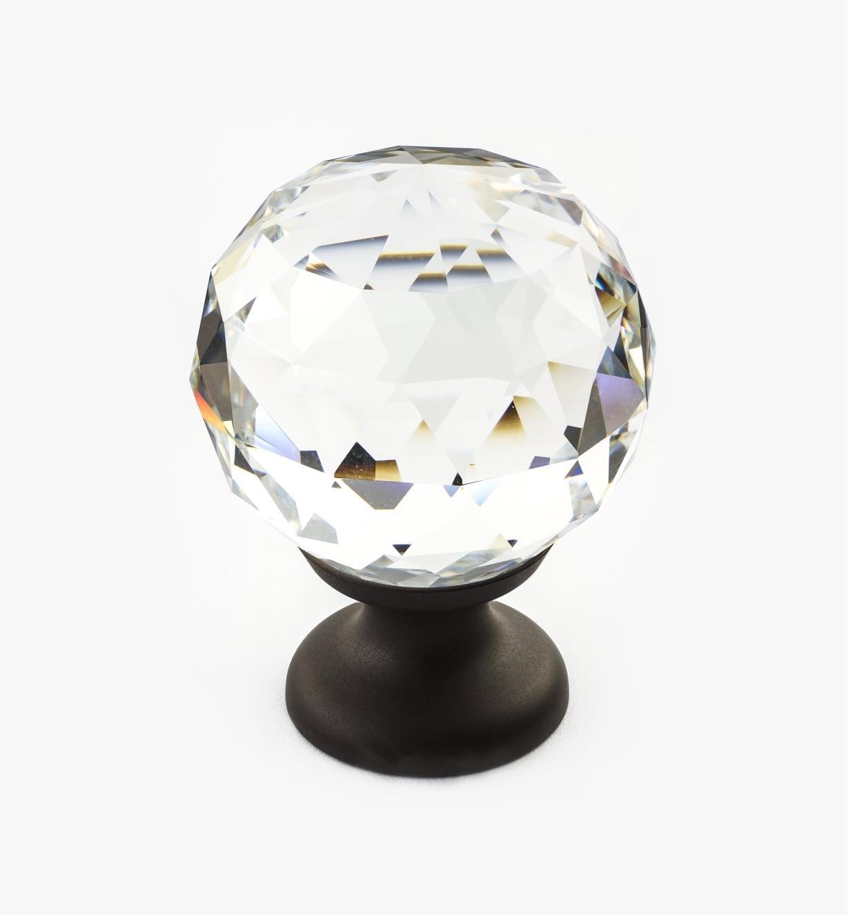 01A3451 - Large Faceted Glass Knob, ORB