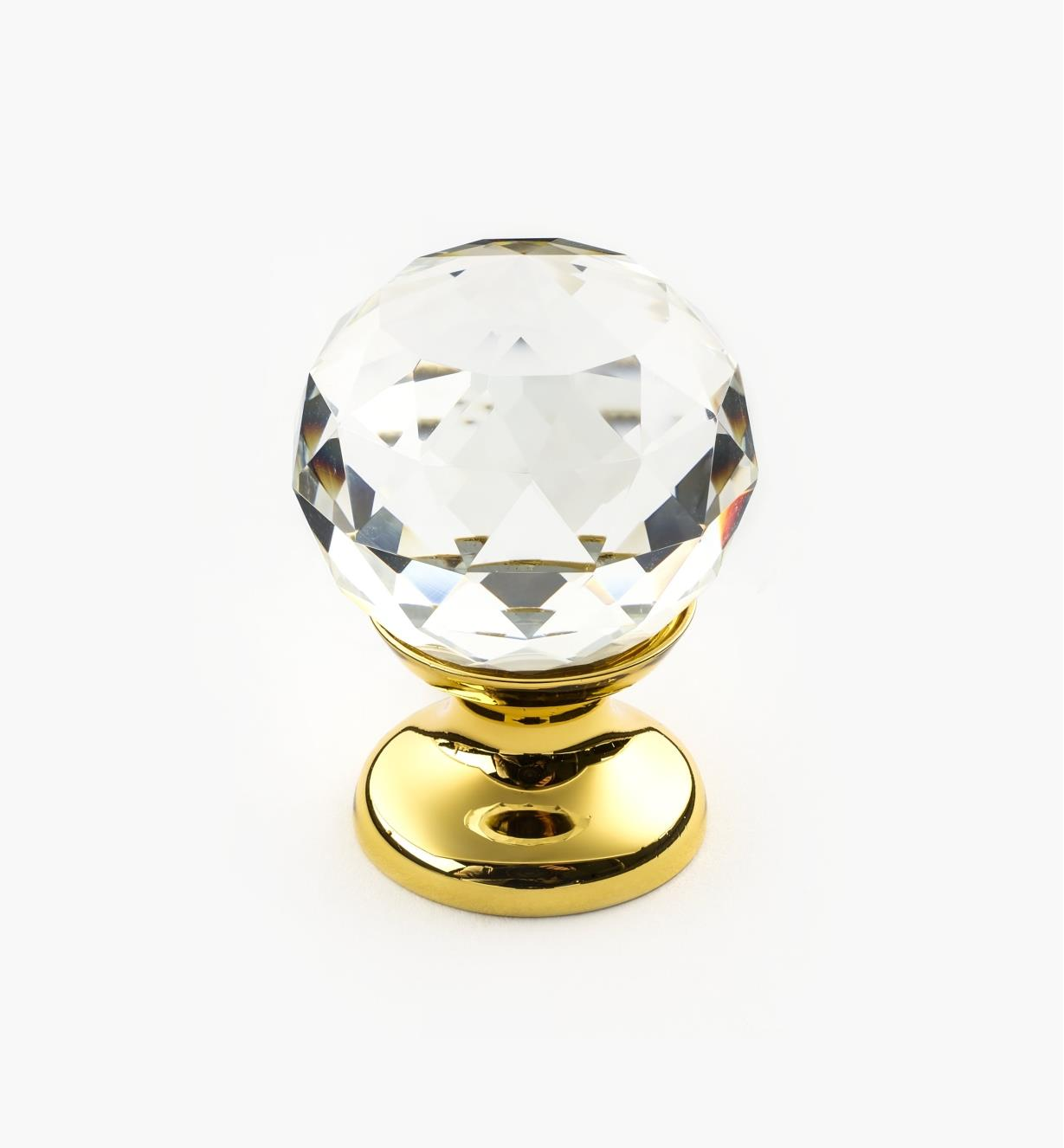 01A3460 - Small Faceted Glass Knob, PB