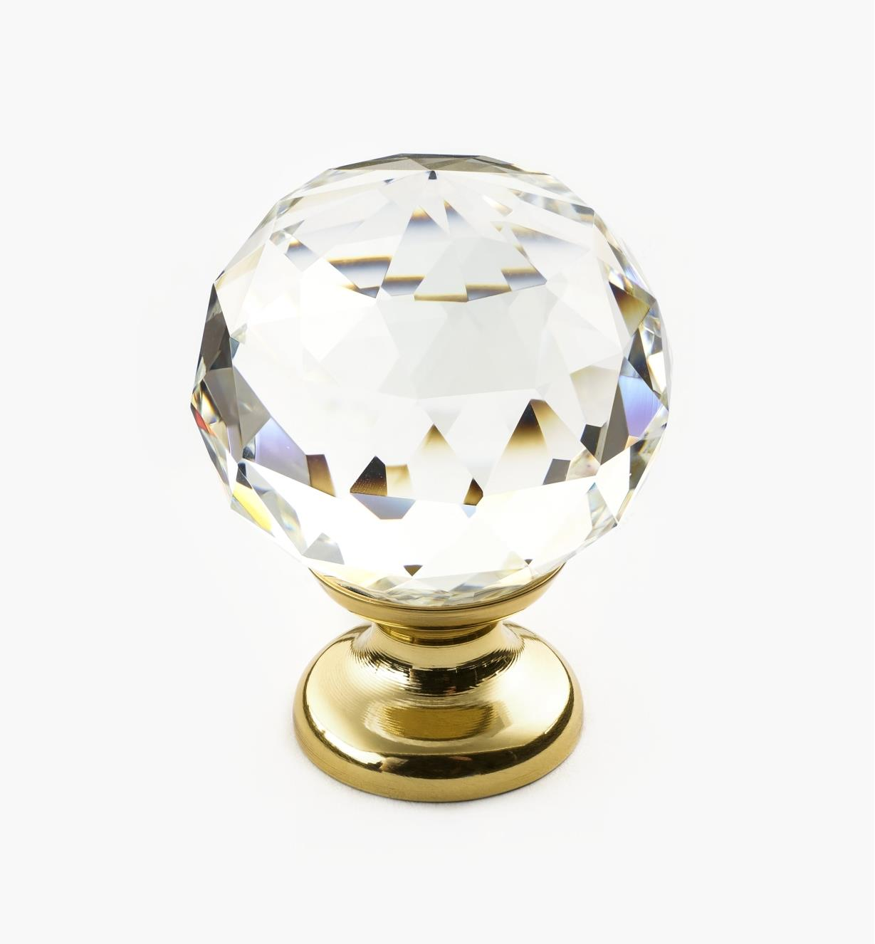 01A3461 - Large Faceted Glass Knob, PB