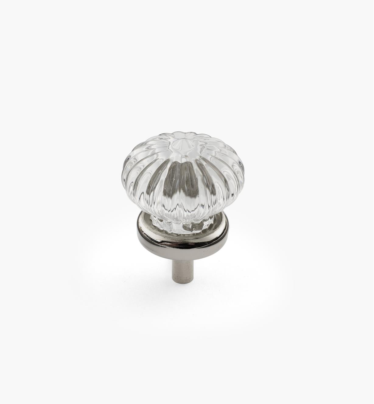01A3810 - 28mm Glass Rosette Knob, Nickel Plate base