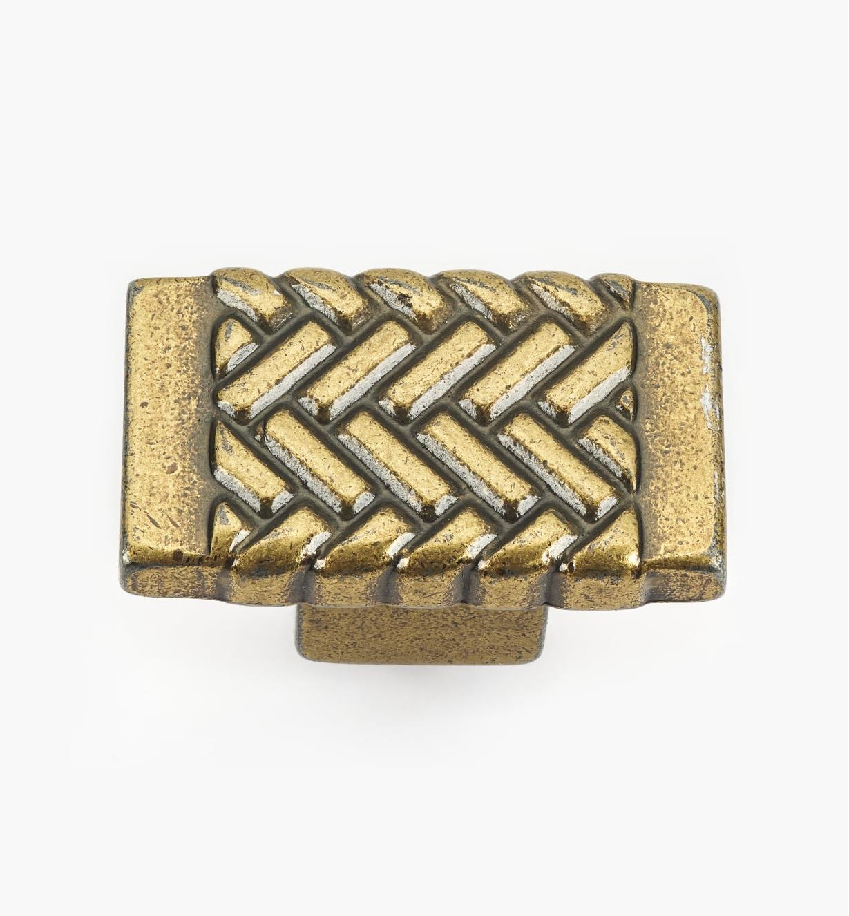01G1941 - Antique Brass Herringbone Knob