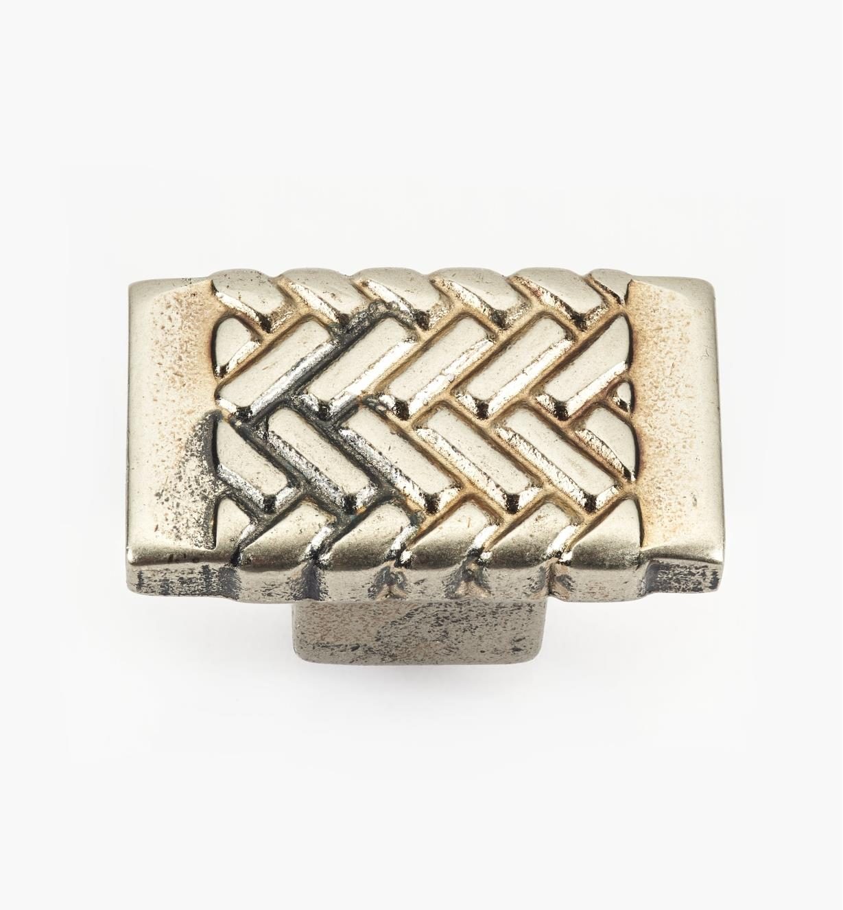 01G1951 - Antique Silver Herringbone Knob