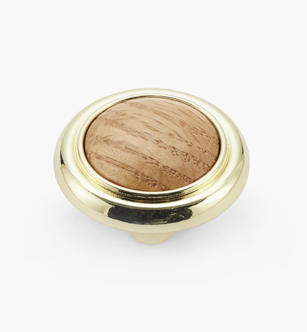 """01W2207 - 1 3/16"""" x 7/8"""" Brass Plate Oak Knob"""