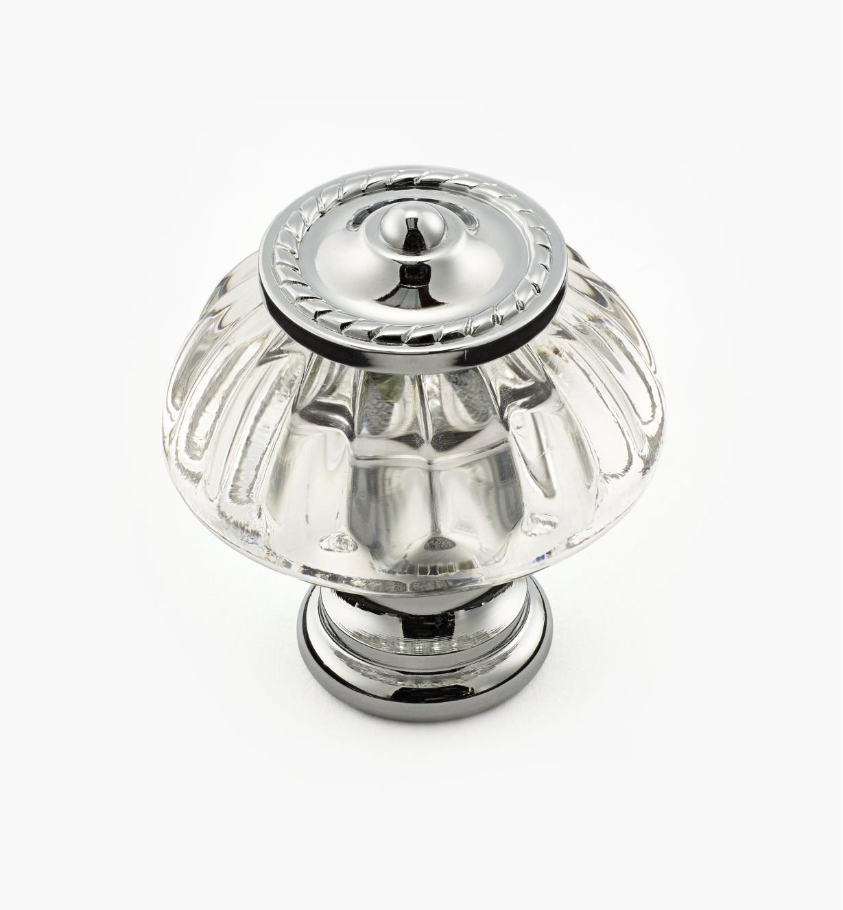01W2581 - Bouton en verre à motif perlé à base plaquée chrome, 1 1/4 po x 1 7/16 po