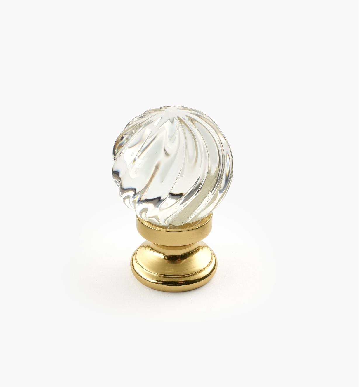 01W2630 - Bouton spiralé en verre, 1 1/16 po x 111/16po