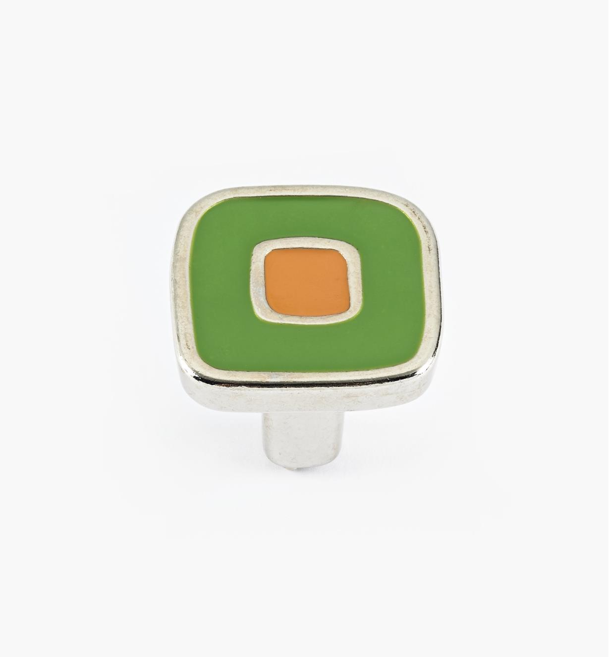 01X4340 - Enamel Infill 30mm Small Green/Orange Knob