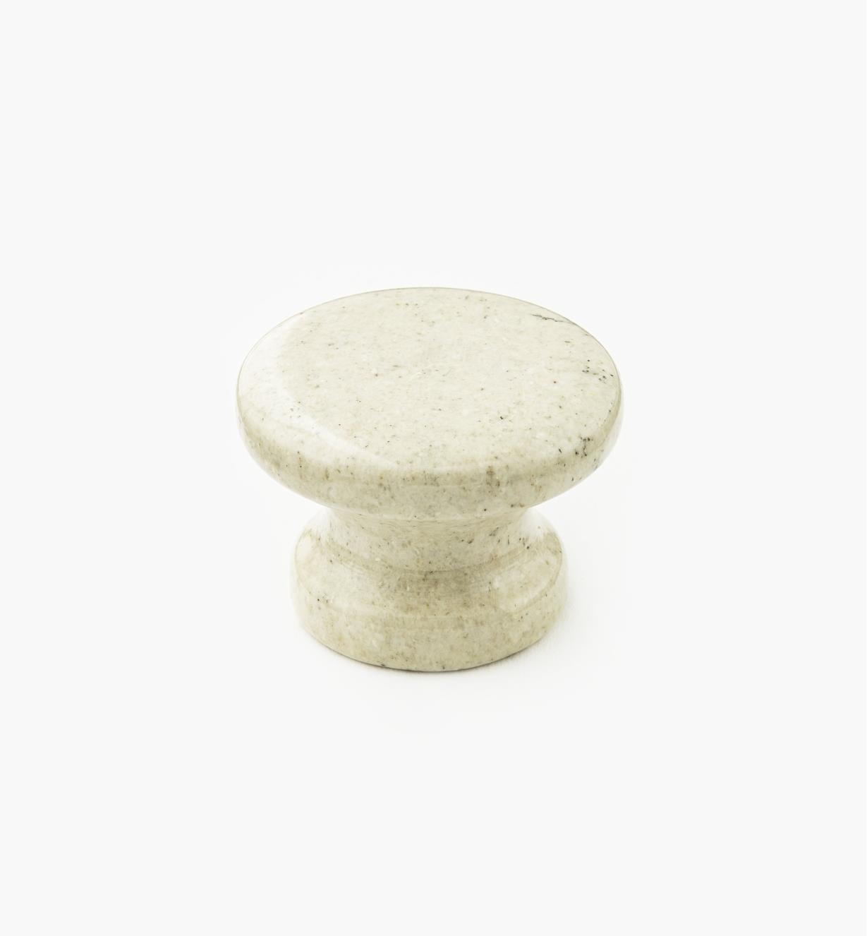00W4022 - Bouton en marbre, sable, 34 mm x 25 mm