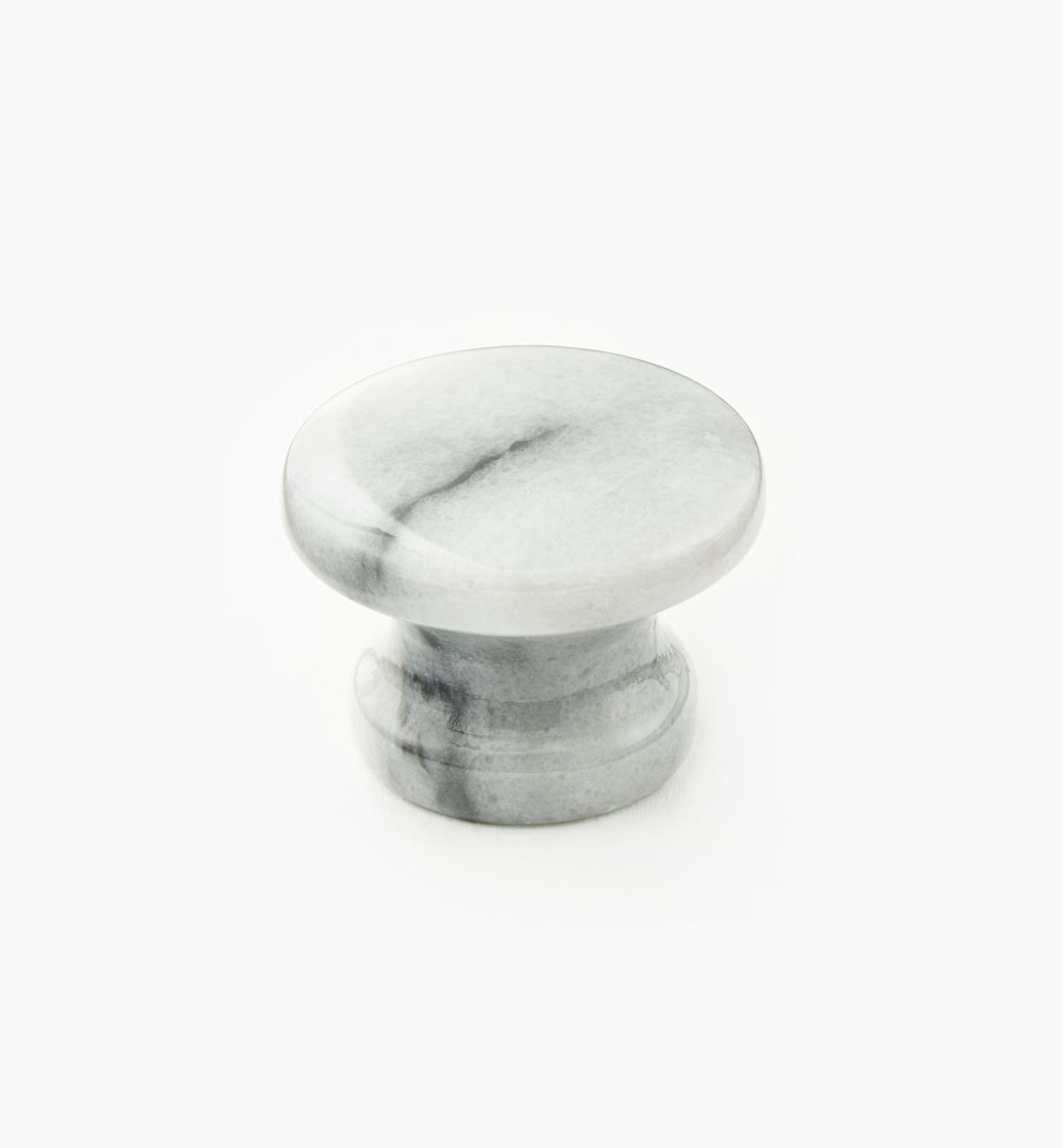 00W4024 - White Marble Knob, 34mm x 25mm