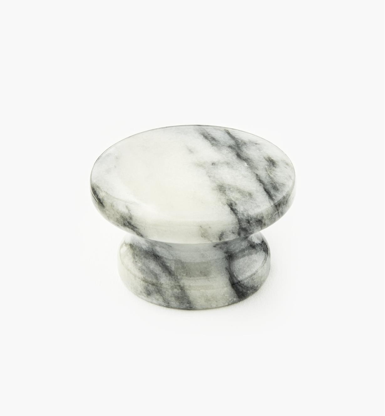 00W4034 - Bouton en marbre, blanc, 40 mm x 25 mm