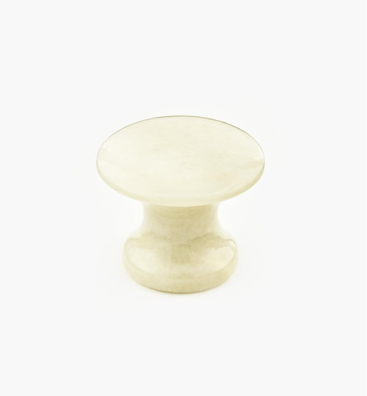00W4064 - Bouton en marbre, blanc, 35 mm x 30 mm