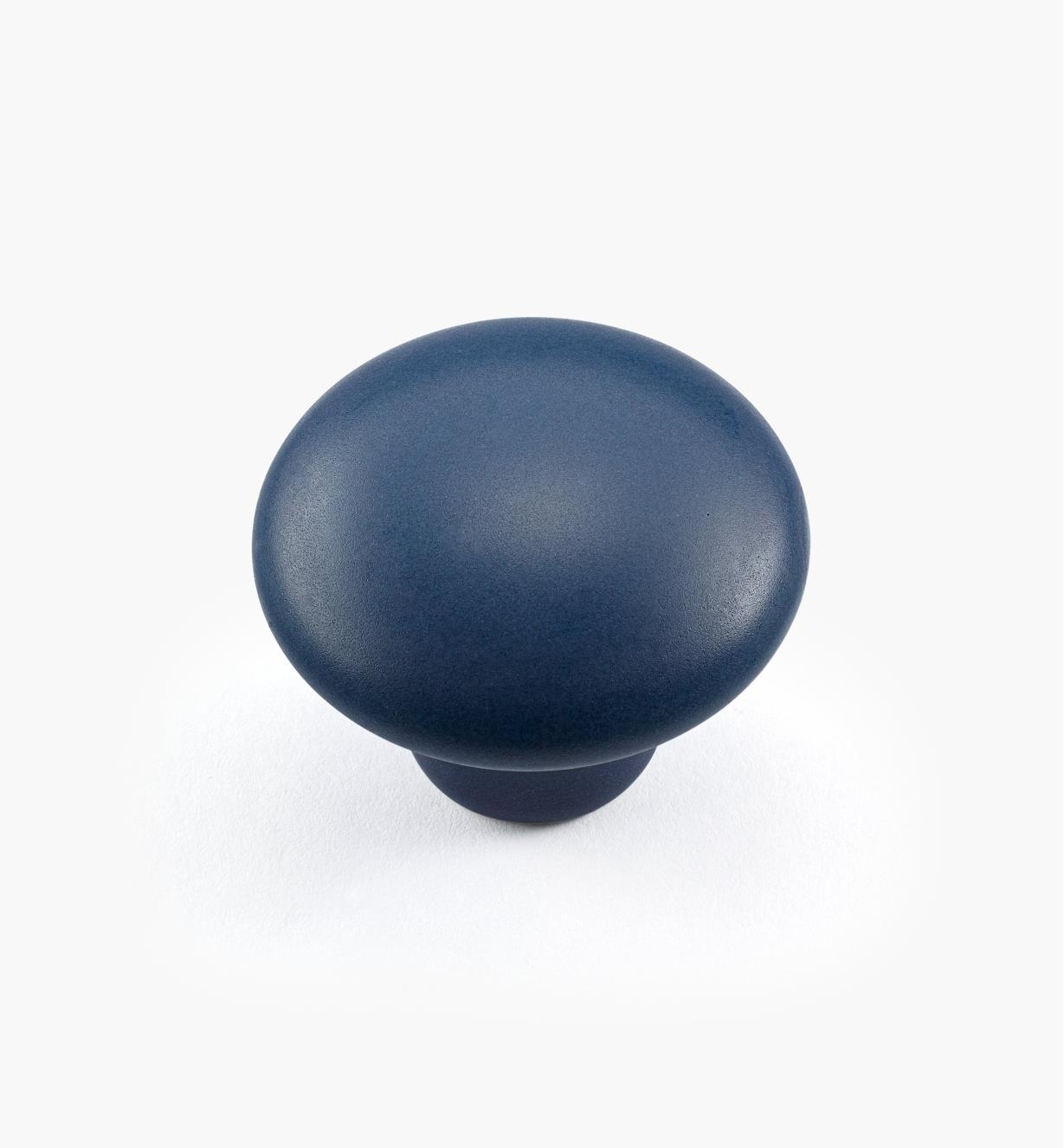 00W5282 - Bouton satiné, bleu, 1 3/8 po x 1 1/8 po