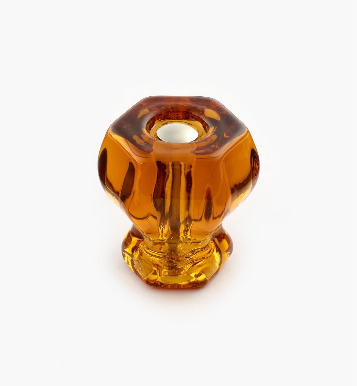 01A3730 - Bouton hexagonal en verre, ambre, 11/8po