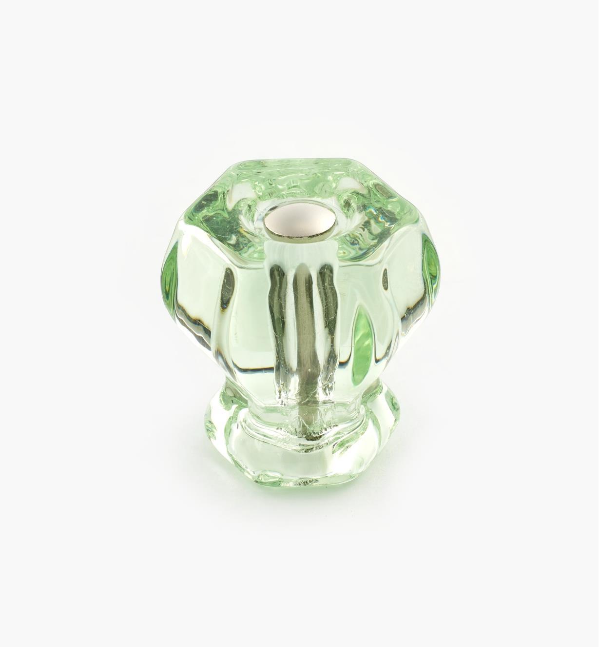 01A3750 - Bouton hexagonal en verre, vertpâle, 11/8po