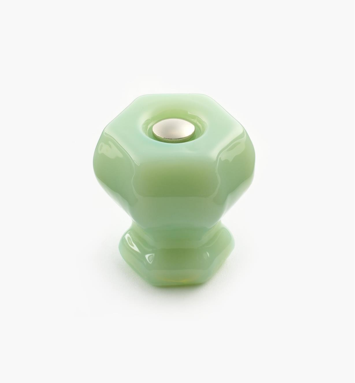 "01A3770 - 1 1/8"" Milky Green Hexagonal Glass Knob"