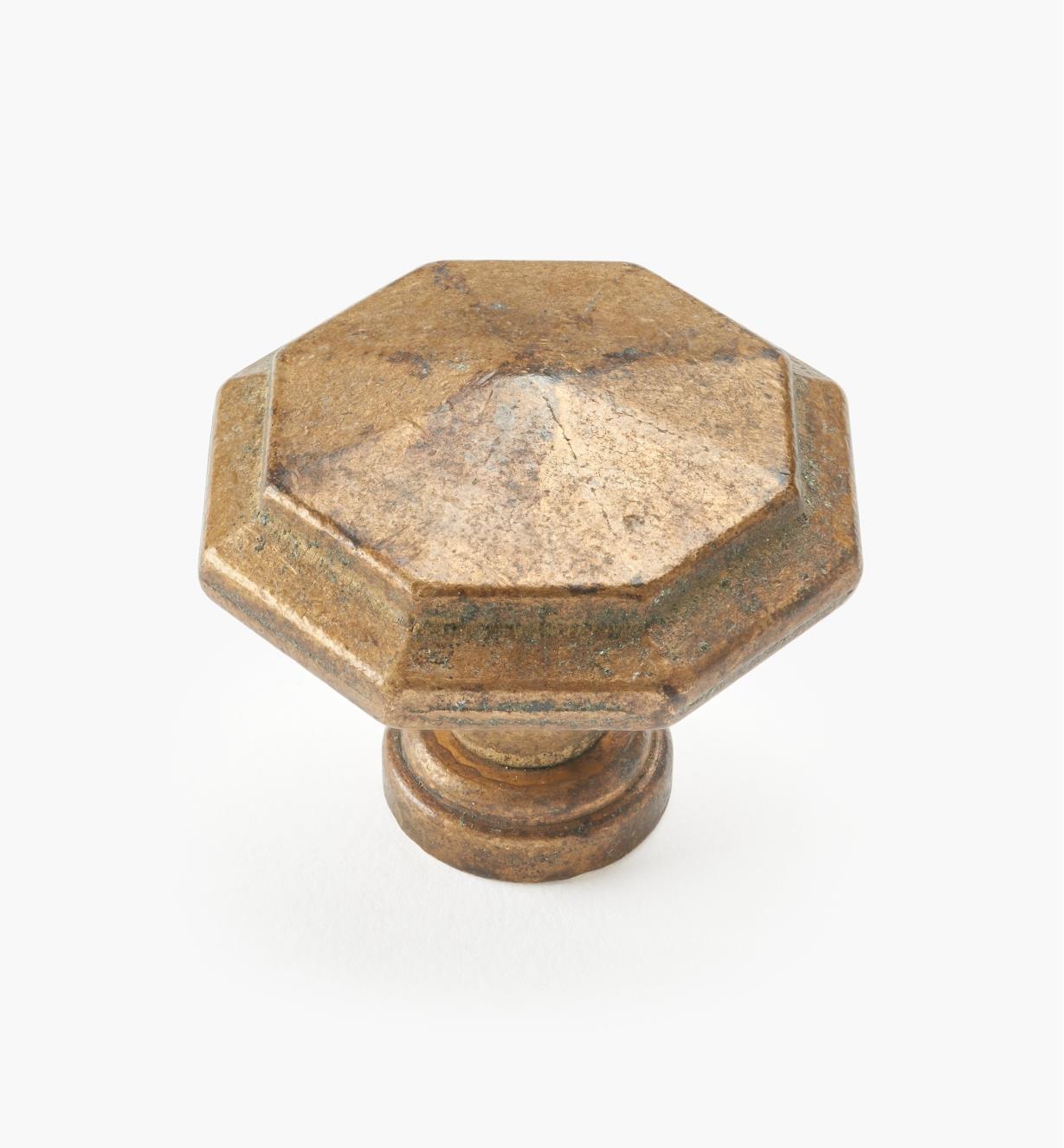 01A7060 - Bouton octogonal, laiton ancien, 38 mm