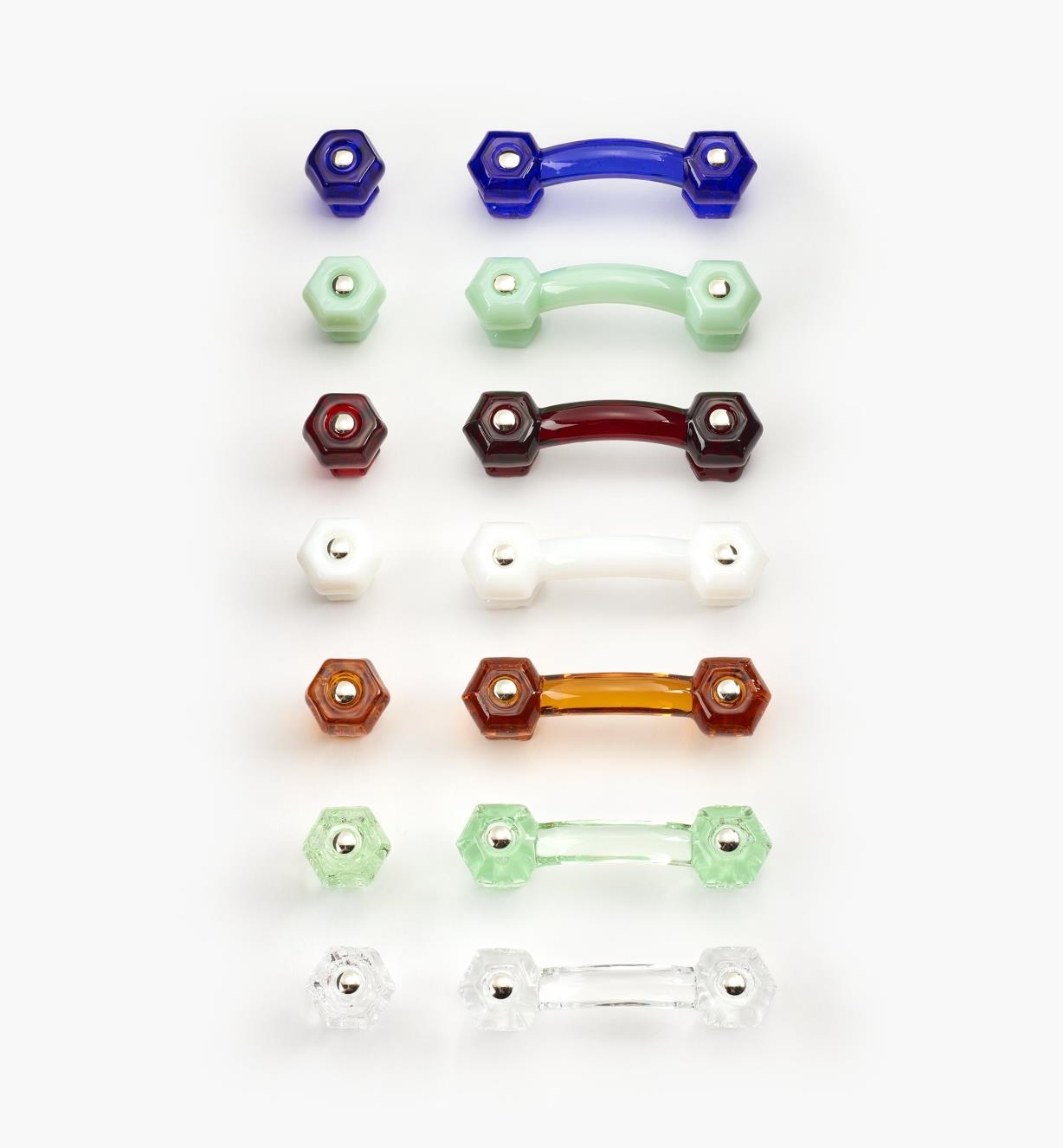 Poignées et boutons hexagonaux en verre