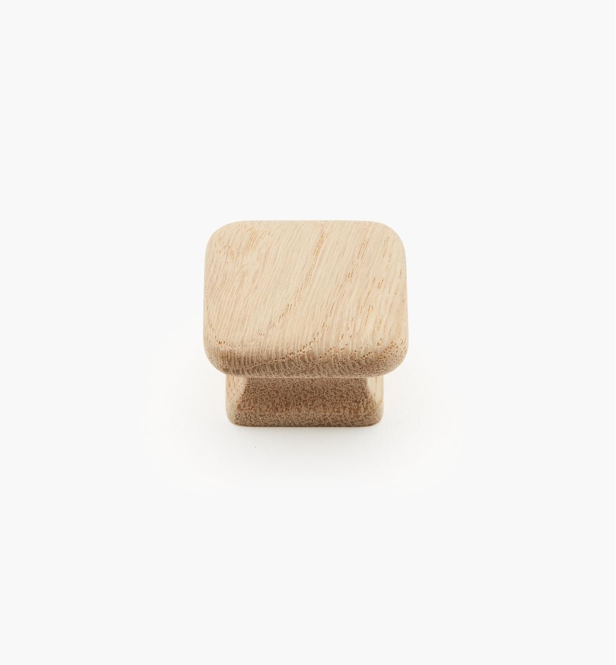 00W2901 - Bouton carré en chêne brut, 1 1/2 po