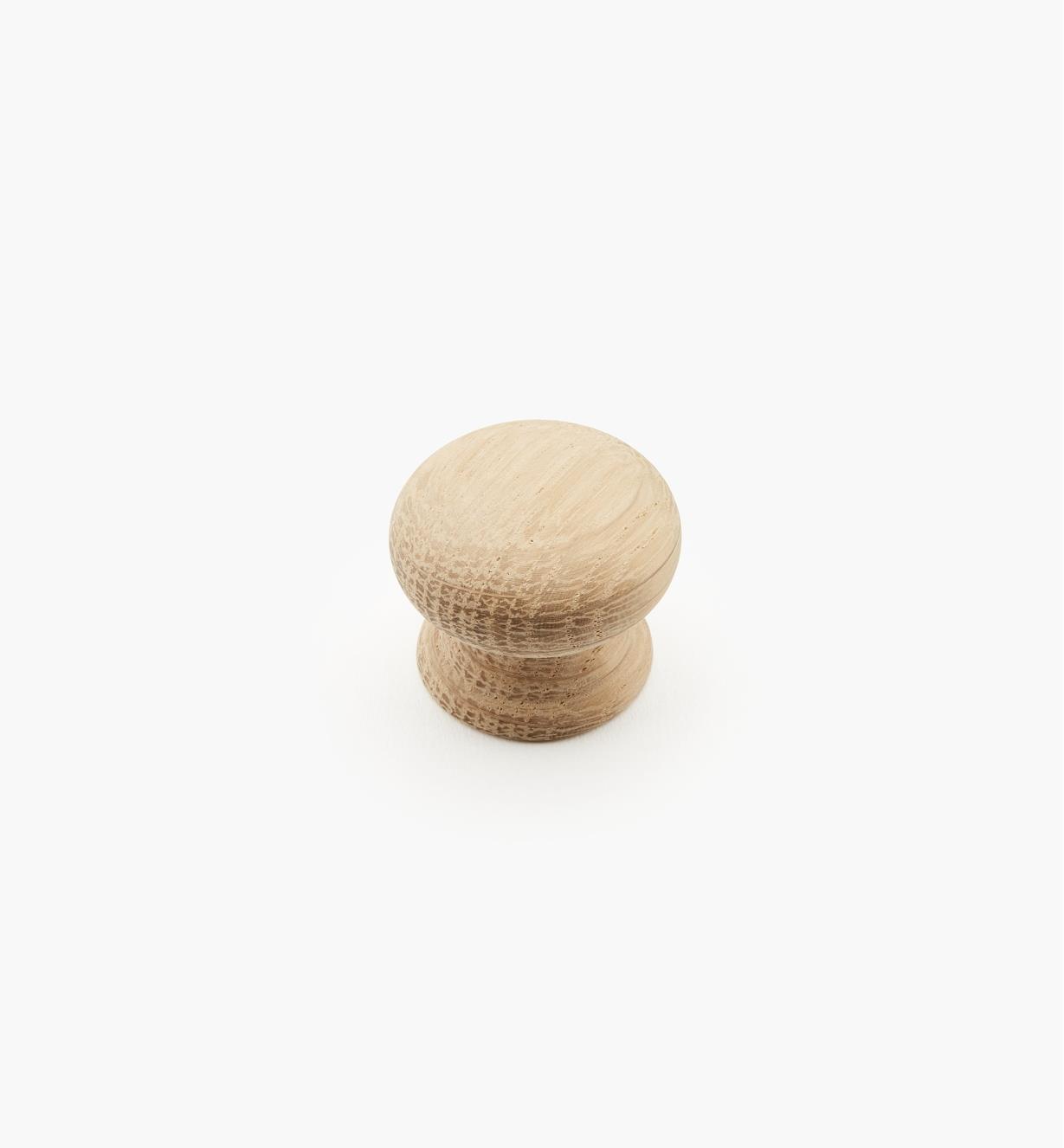 00W2905 - Bouton rond en chêne brut, 1 1/4 po