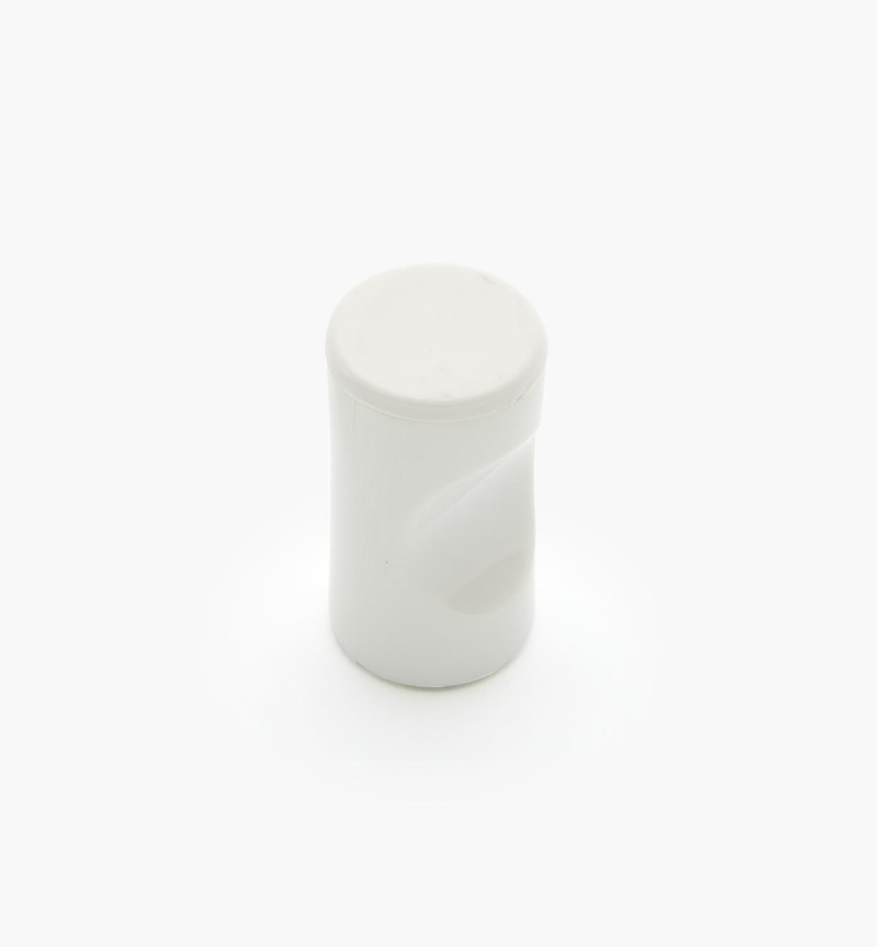 "01W4512 - 13mm x 1 1/8"" White Notched Pull/Knob"